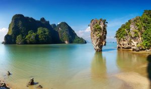 limestone rock formations in the sea in phuket
