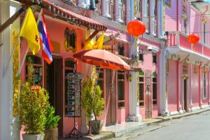 colourful colonial hoouses in phuket