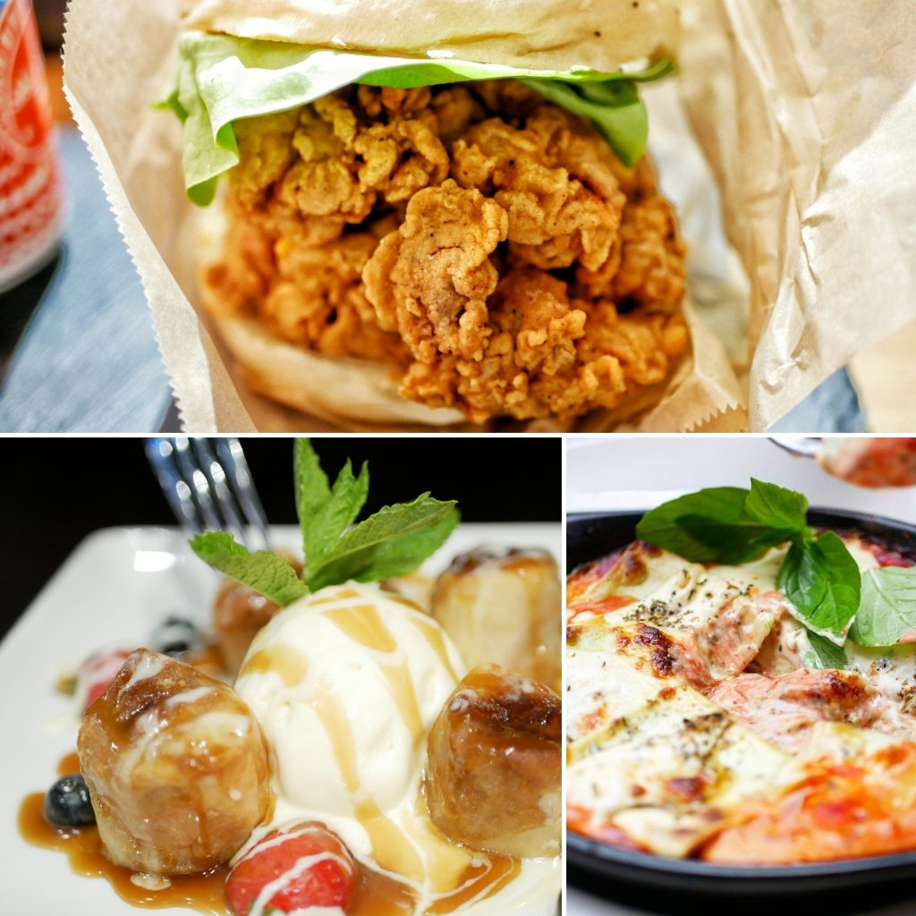 Fried chicken burger, bakes pasta dish and ice creamm and banana dessert