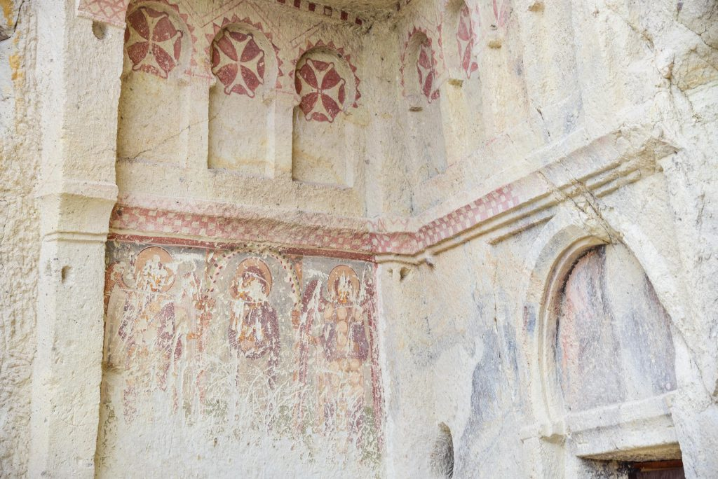Exteriors of the Dark Church at Goreme Open Air Museum in Cappadocia, Turkey.