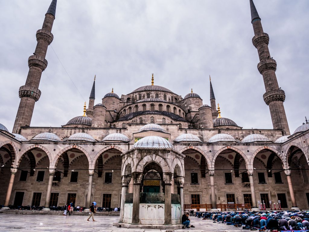 congregational prayer at the blue mosque in istanbul turkey