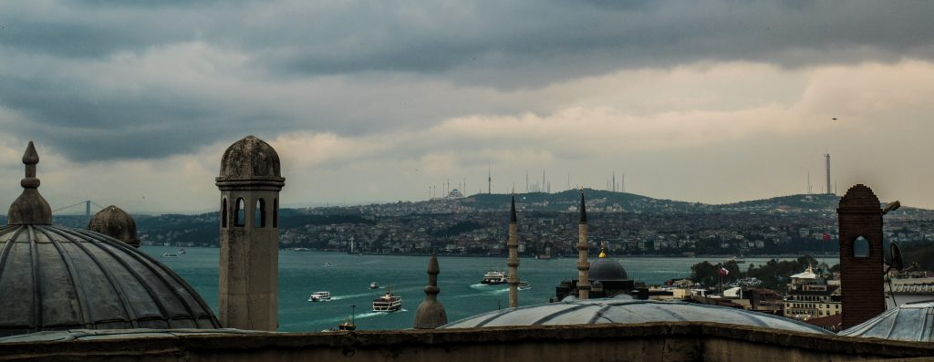 Istanbul skyline dominated by minarets and domes and the bosphorus