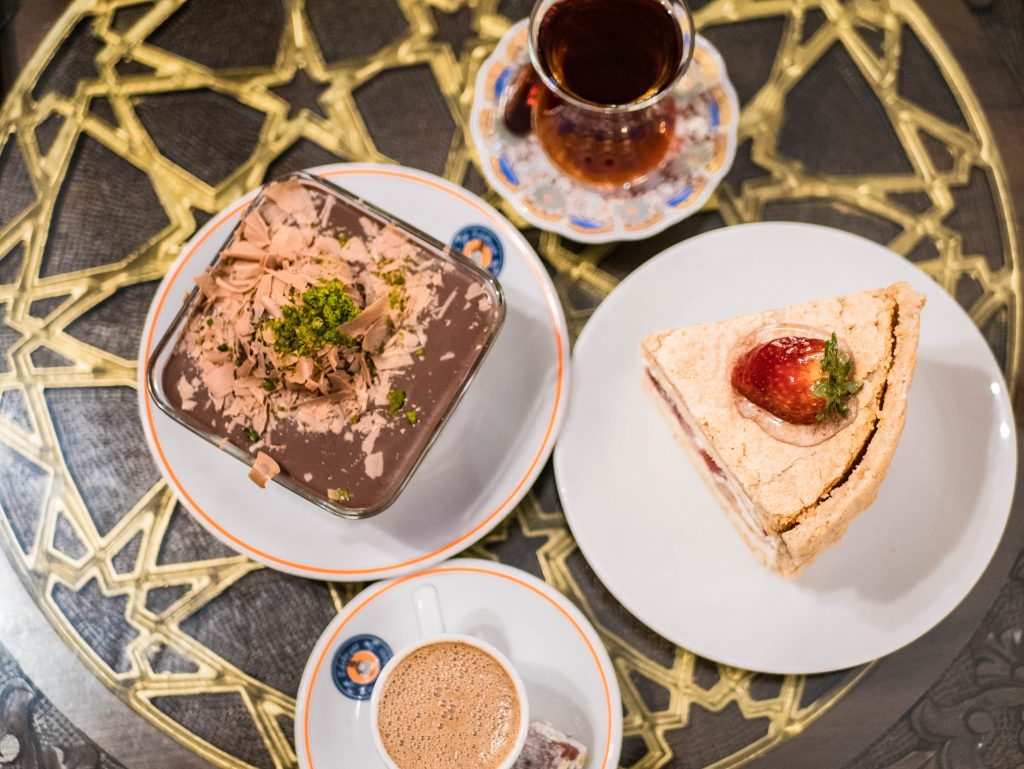 cake, strawberry, chocolate mousse, ottoman coffee and turkish tea