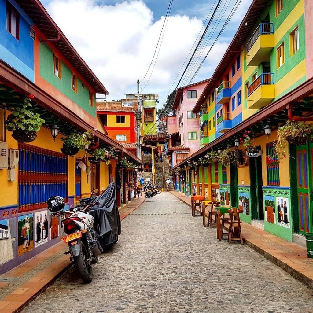 Colourful houses in the town of Guatepe, Colombia