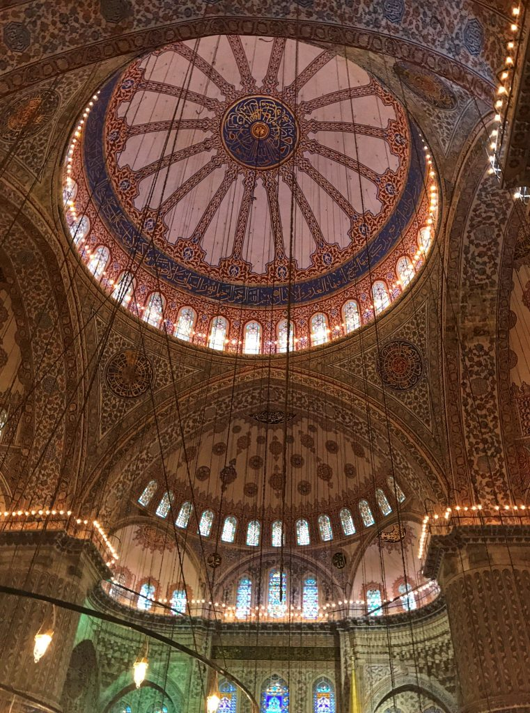 ceramic tiles adorn the interior does and walls of the Blue mosque