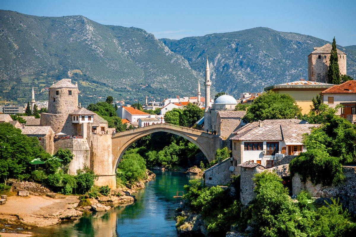 view of the old bridge in mostar,bosnia.