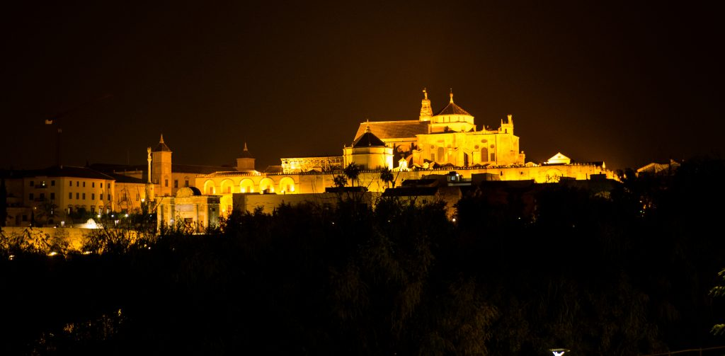 The mezquita catedral in cordoba illuminated at dusk