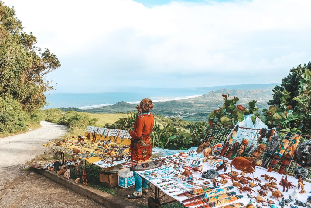 A local Bajan lady selling her wares atop Cherry Tree Hill