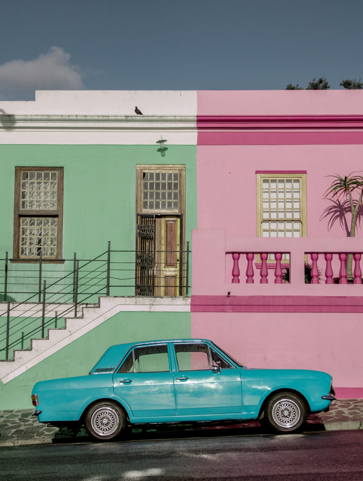 pink and green painted houses in Bokaap, Cape Town, South Africa