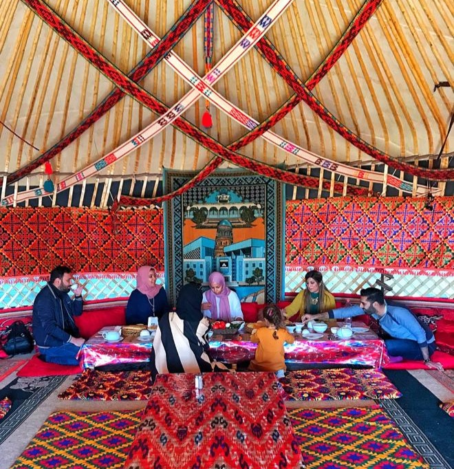 travelling in a group - halal. eating in a nomad yurt in uzebekistan