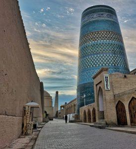 blue tiled minaret, Khiva, Uzbeistan