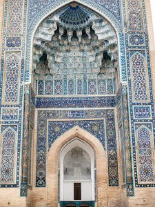 blue tiled alcove of tamerlane's tomb in samarkand, uzbekistan
