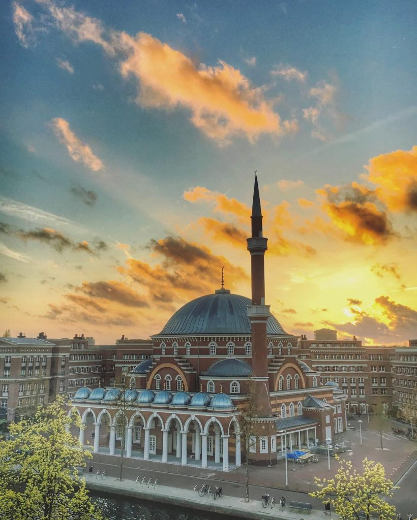 ayafoya camii also known as westermoskee mosque in Amterdam. Ottoman - style mosque against sunset