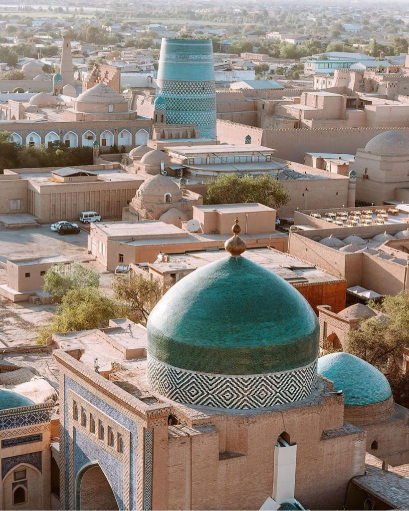GREEN DOMED MADRASA IN KHIVA, UZBEKISTAN