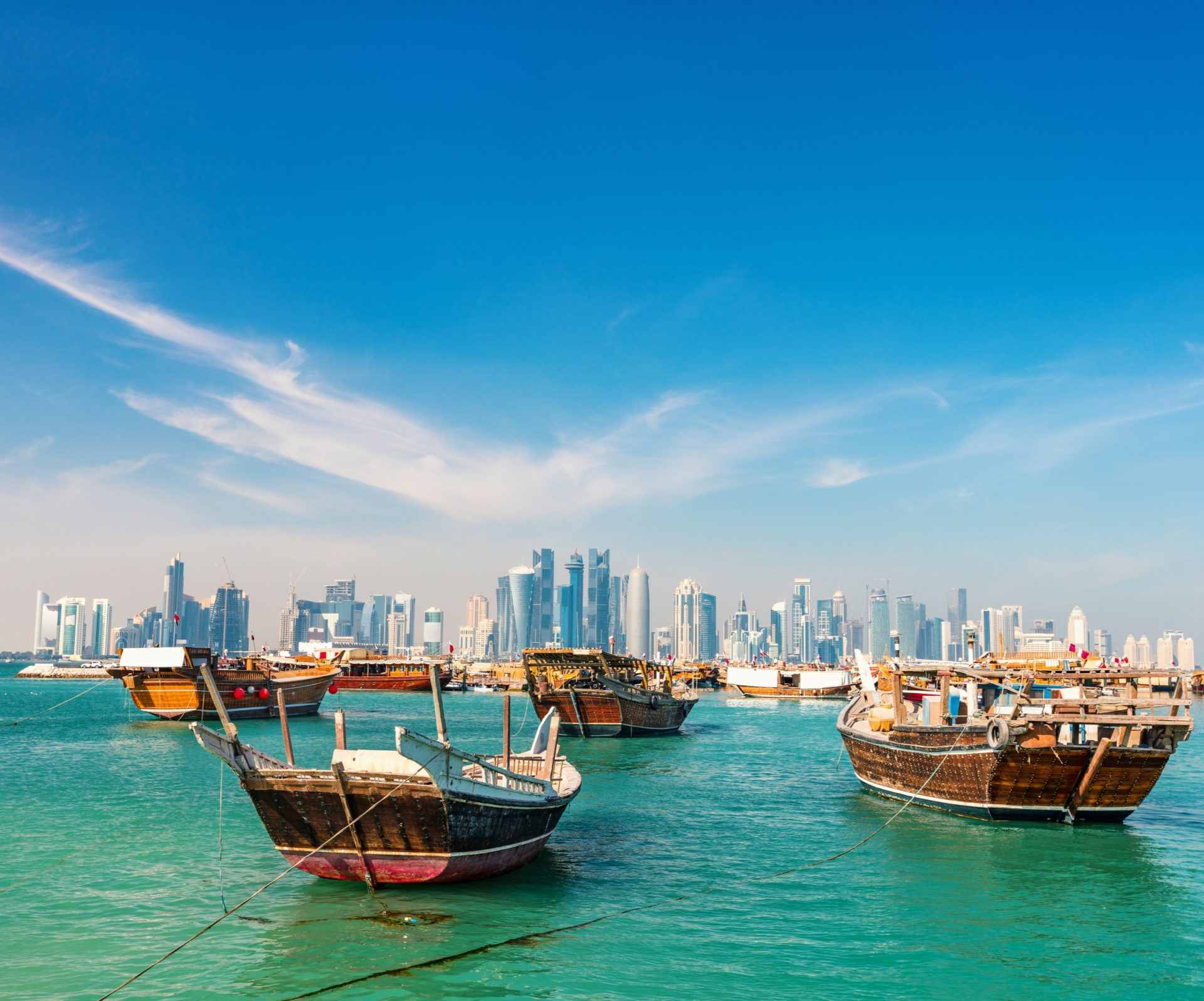 traditional wooden dhow in qatar