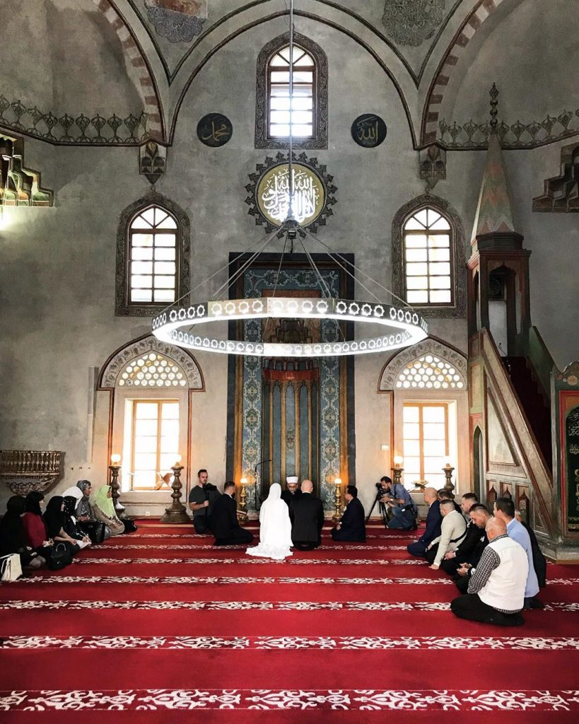 inside single domed ottoman mosque in sarajevo