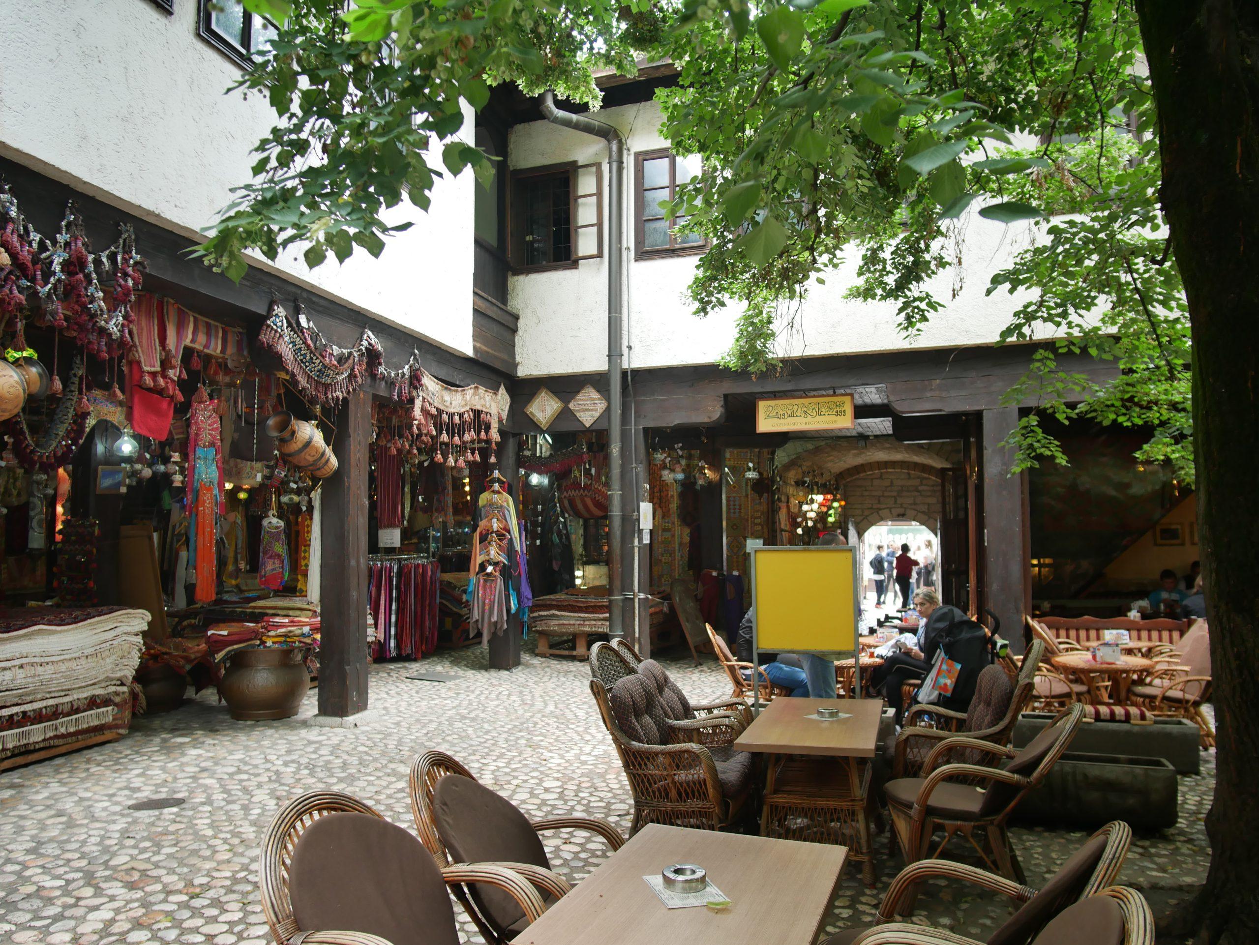 leafy cobblestone cafe in bascarsija namd morcia han