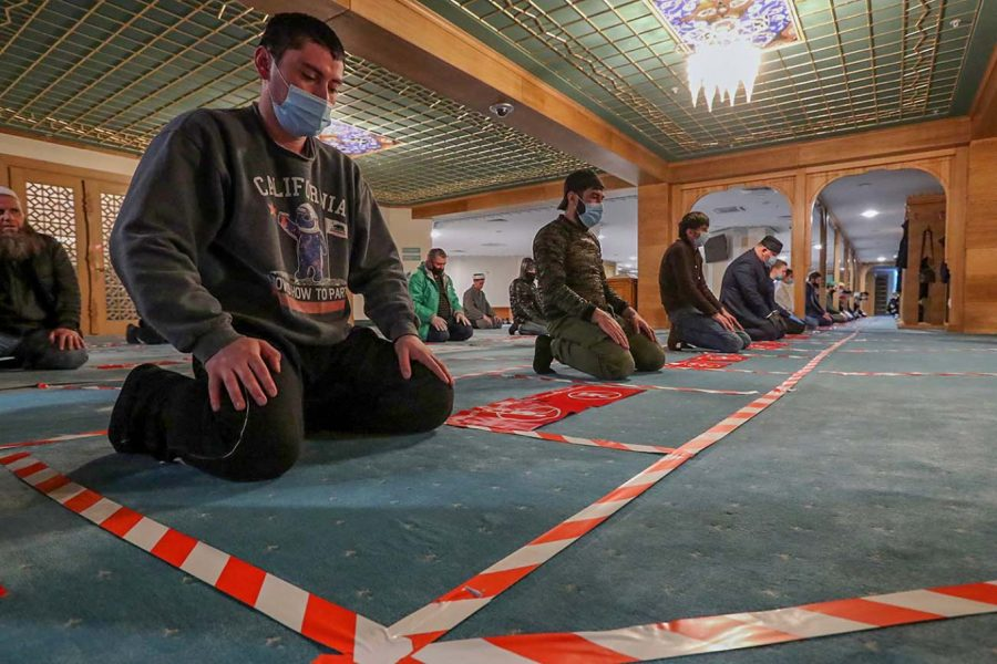 Muslims following social distancing during prayers at Moscow Cathedral Mosque