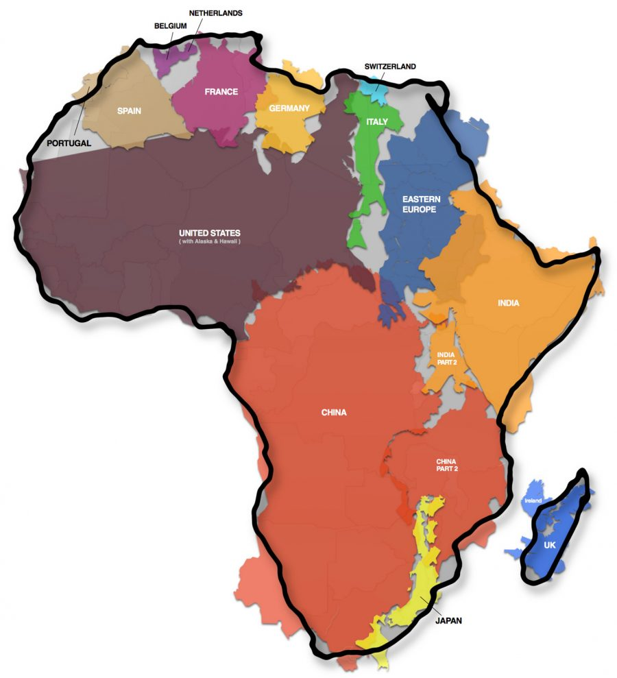 the real size of africa world map